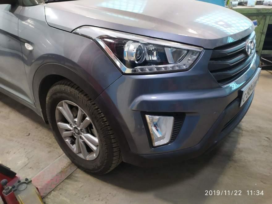 Фото результата ремонта переднего бампера Hyundai
